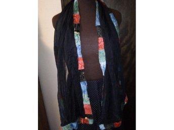 sjal svart chiffon med patchwork sammetskant  retro