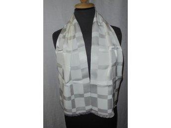 halsduk i siden, vit med rutmönster, vintage 30-tal