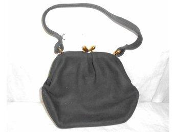 väska, svart aftonväska i lädermocka, vintage, 50-tal