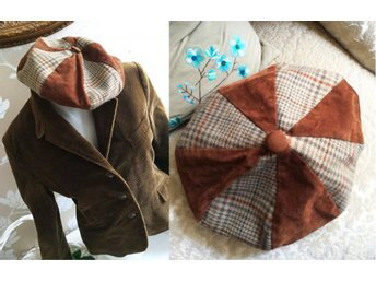 Vintage basker fri frakt brun rutig hundtand mössa tweed retro rockabilly