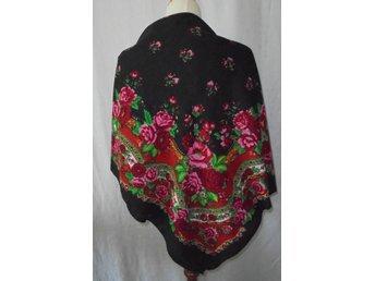 sjal, stor rosig rysk sjal i ylle