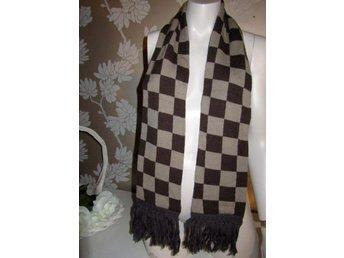 KATVIG fri frakt brun/beige halsduk/scarf stickad rutig/scha