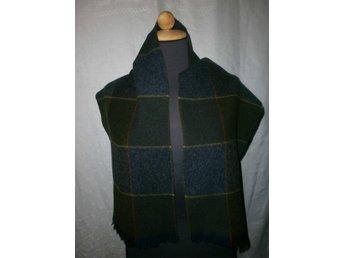 halsduk i handvävd ylle, gröna toner,vintage