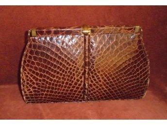 väska i läder med krokodilmönster 8ej äkta kroko) vintage, 50-tal