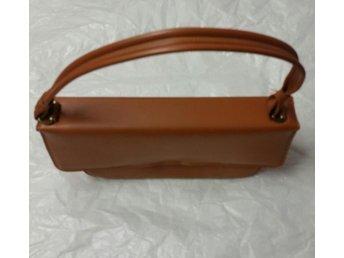 Retro liten handväska i brunt 5060-tal