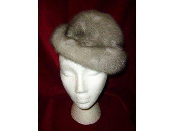 Pälshatt, hatt av äkta päls, grå mink, silvermink, vintage 50 tal