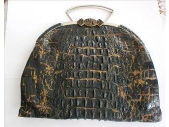 väska, antik handväska i krokodilpräglad läder (EJ äkta) ,vintage, 1900-1910-tal
