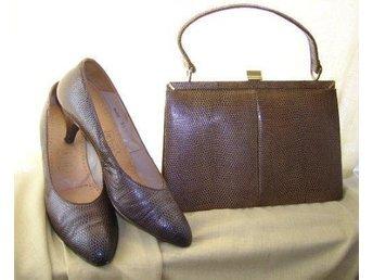 väska och skor,reptil mönstrad läder,vintage 60-tal, skor ca 40