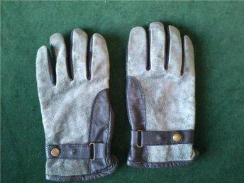 skinnhandskar grå mocka svart skinn handskar UNISEX retro