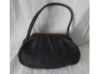 handväska i brun mocka läder, vintage, 30-tal
