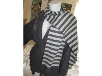 Randig scarf fri frakt grå/randig avlång modell halsduk ribbad