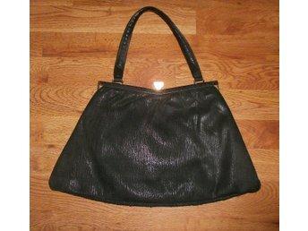 väska, handväska i svart läder, mocka,vintage, 50-tal