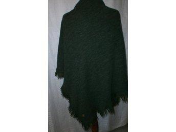 sjal, stor grön sjal i ylleblandning