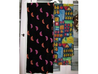 Paket scarfs x 2 sjalar scarf svart fjärilar + färgglad med frukt