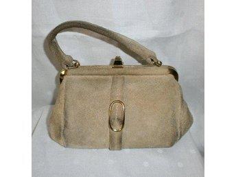 väska,liten handväska i äkta läder-mocka,vintage,50 tal
