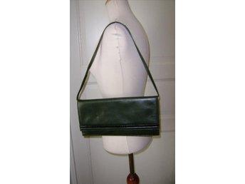 väska, grön läderväska,vintage,70 tal