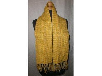 halsduk i gula toner, handvävd ylle,vintage