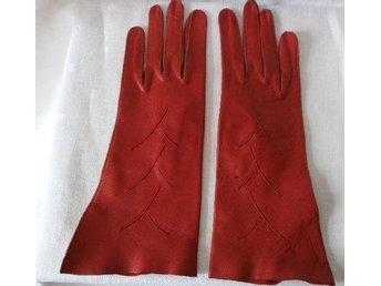 handskar, röda läderhandskar,vintage, 60 tal, st 5 1/2