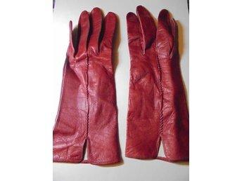 handskar, tunna röda läderhandskar, vintage, 50-tal, st 6 1/2
