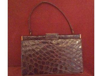 väska i läder med krokodilmönster (ej äkta krokodil), vintage, 50-tal