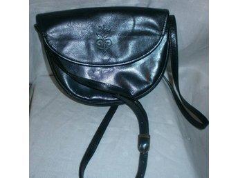 väska i blå läder,vintage