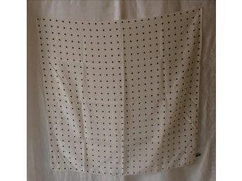 sjal i siden,silke,vit med svarta prickar