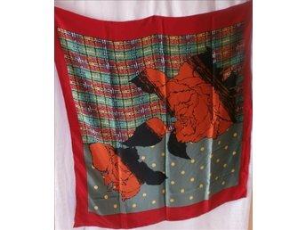 sjal i siden, silke,ros+rutig,vintage