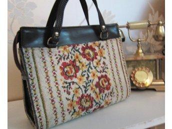 VINTAGE FRI FRAKT gobeläng stor väska handväska retro 50-tal