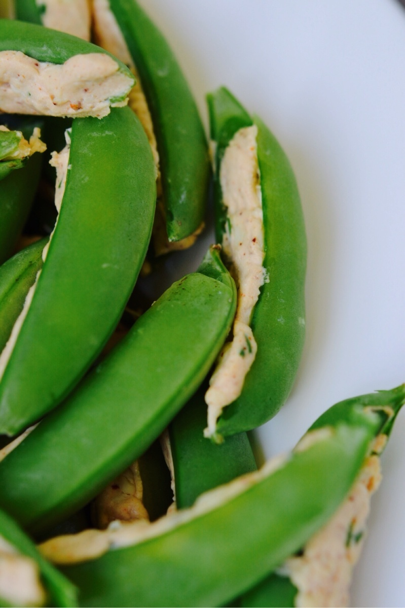 Creamy Mexican Cheese-Stuffed Sugar Snap Peas
