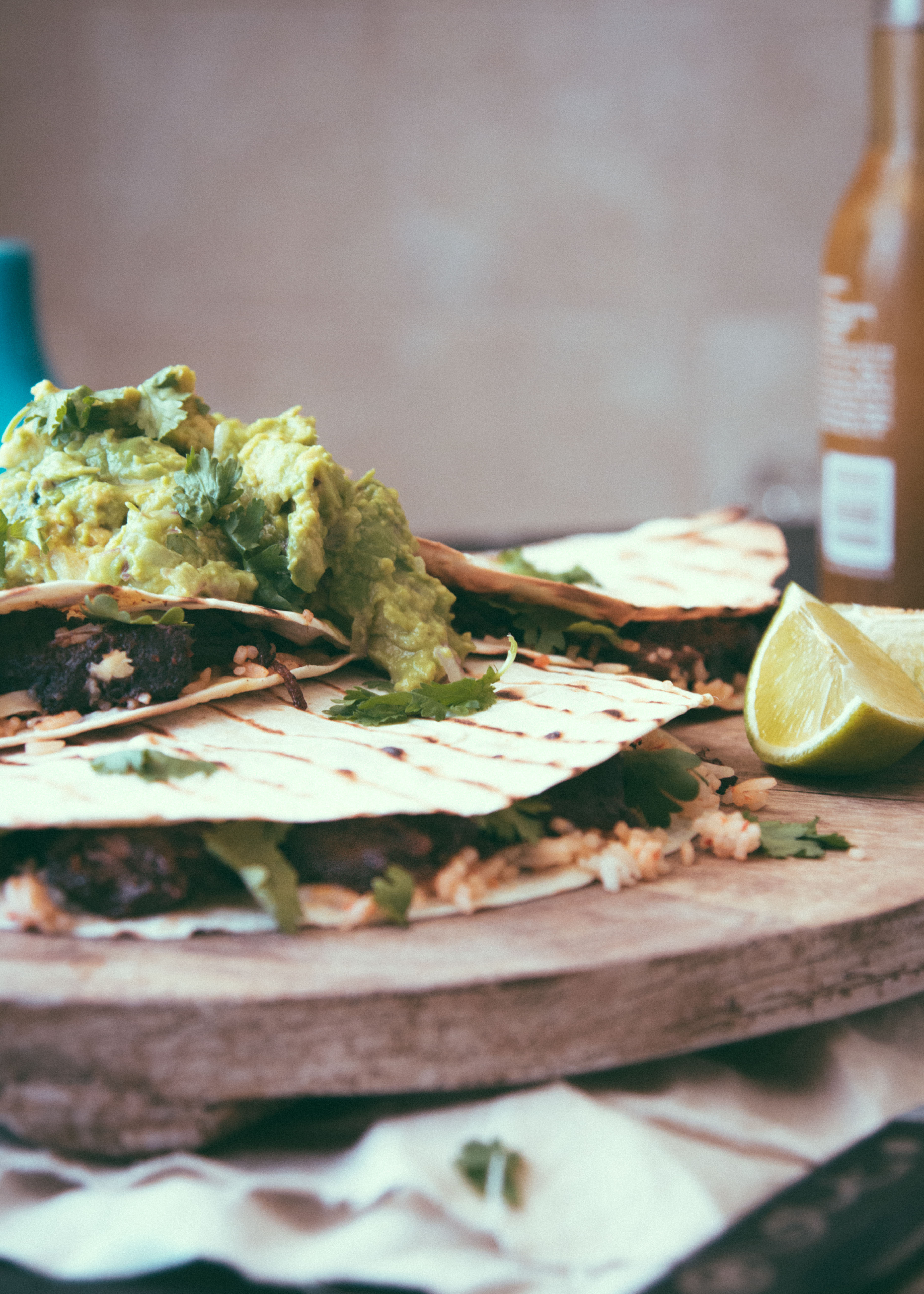 Rice and Beef Cheek Quesadilla with Lime Guacamole.