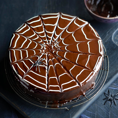 Chocolate Halloween Spider Web Cake