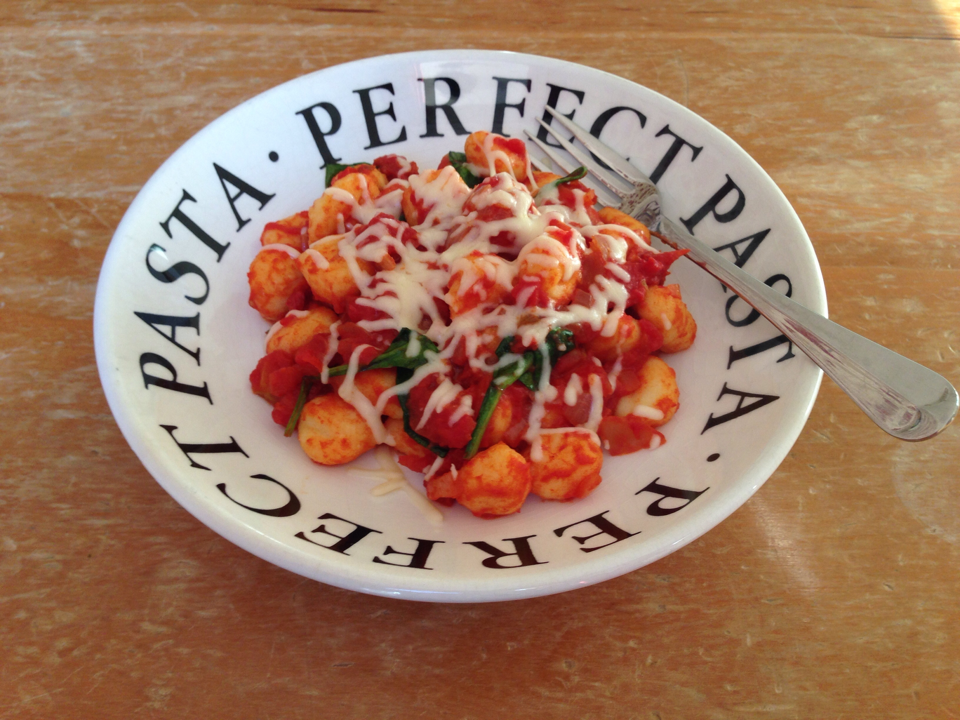 Gnocchi with Chorizo, Spinach and Tomato Sauce