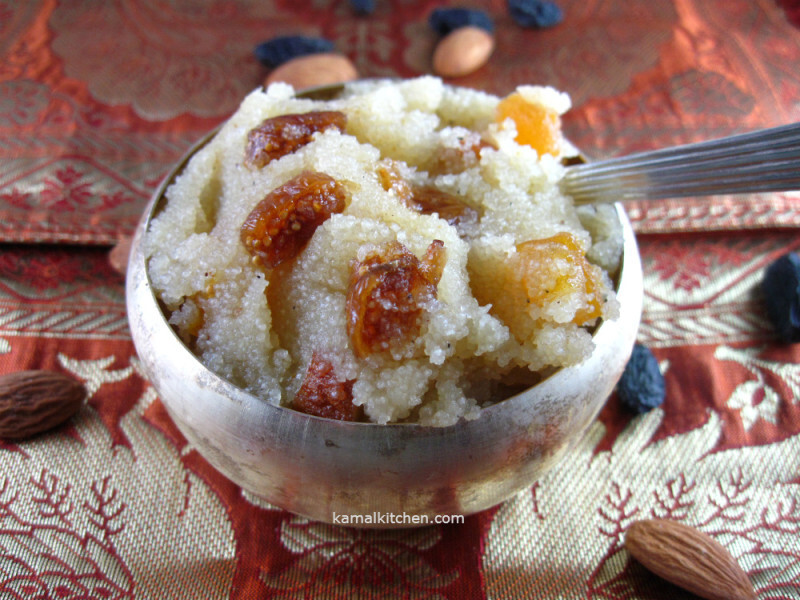 Sooji Halwa/ Badami Shira/ Fig and Almond Semolina Pudding