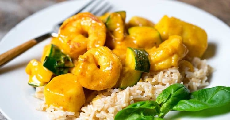Thai Yellow Curry Shrimp with Pineapple