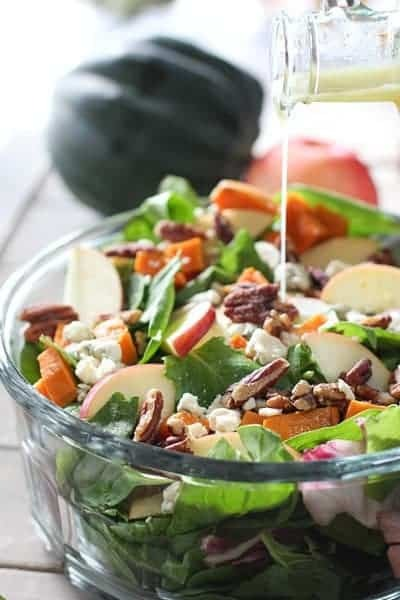 Autumn Salad with Roasted Sweet Potatoes and Maple Cider Vinaigrette