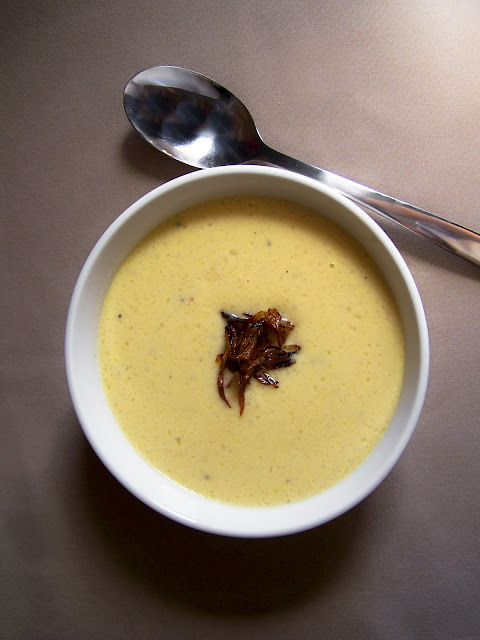 Creamy Cauliflower Cheese Soup with Pan-fried Shallots