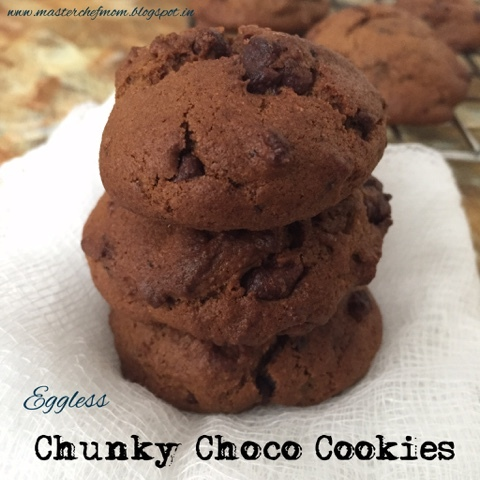 Chunky Choco Cookies | Eggless Recipe | How to make Chunky ChocoCookies | Stepwise Pictures