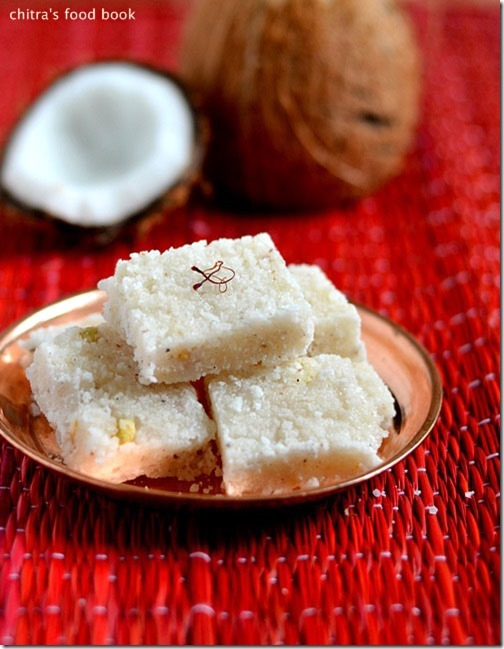 COCONUT BURFI/THENGAI BURFI RECIPE-EASY DIWALI SWEETS