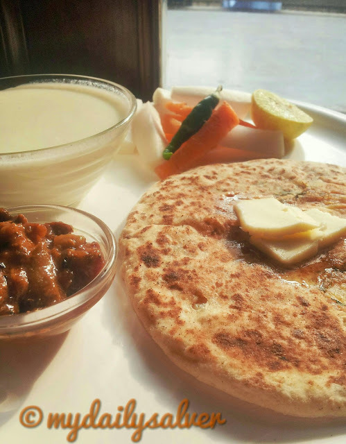 Amritsari kulcha....served with Curd/pickle and salad