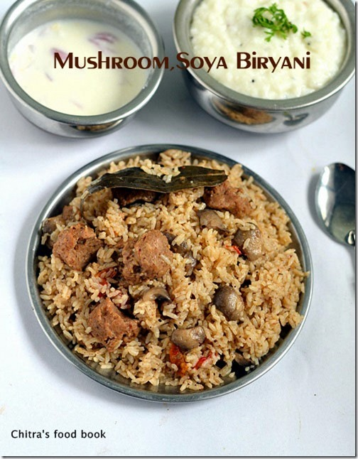 Dindigul Thalappakatti Veg Biryani-Mushroom,Soya Chunks Biryani Recipe--Sunday Lunch Recipe-1