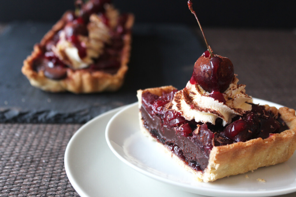 Eggless Black Forest Tart