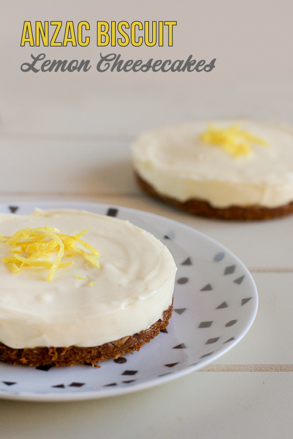ANZAC Biscuit Lemon Cheesecakes