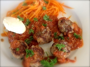 Tuscan Meatballs with Carrot 'Pasta'