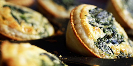 Spinach and parmesan quiches