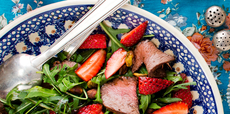 Strawberry salad with venison, pistachio and balsamic