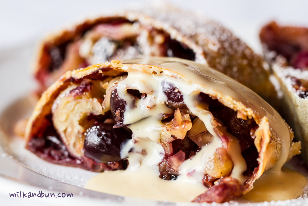 Cherry Strudel with nuts