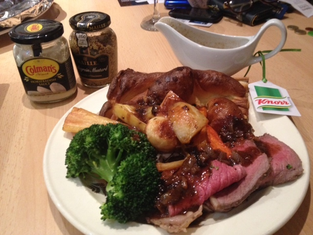 Roast beef, gravy and a huge Yorkshire pudding.
