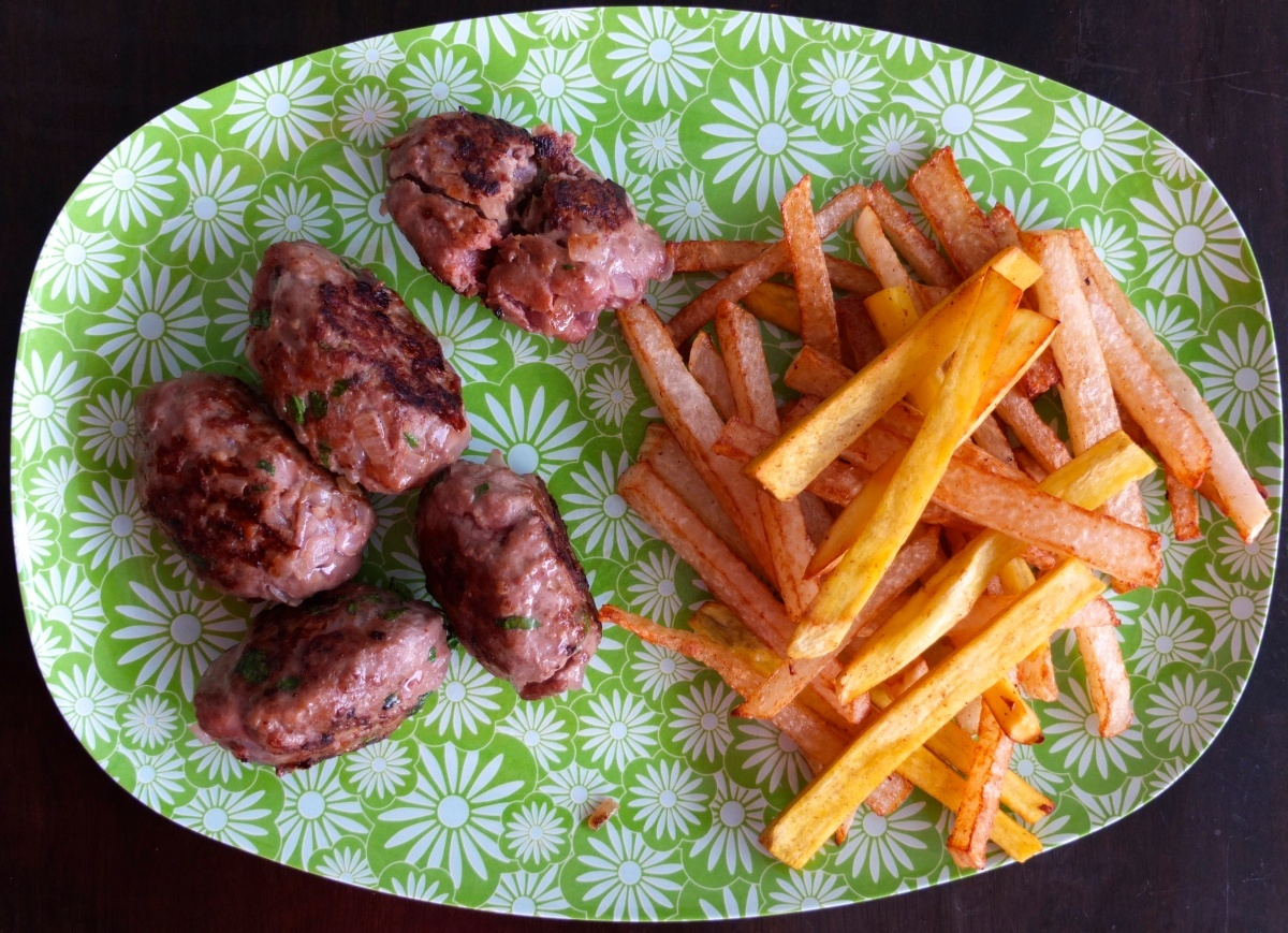 Max's Keftas (meat balls) with turnip and sweet potato fries