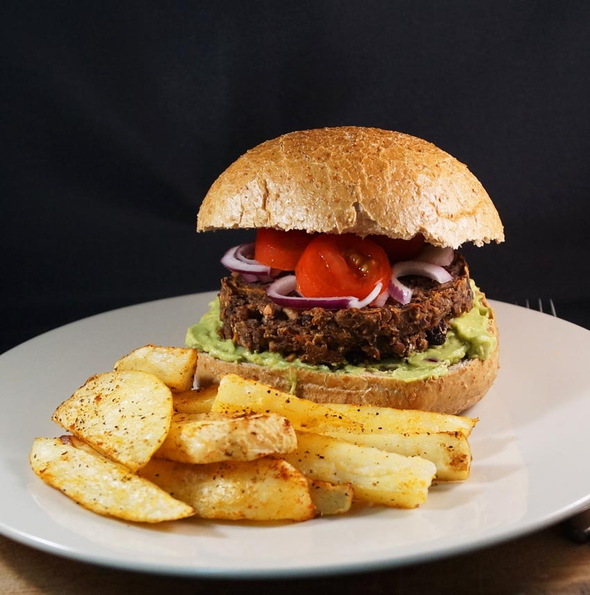 Veggie Haggis Burgers with Guacamole and Paprika Spiced Wedges