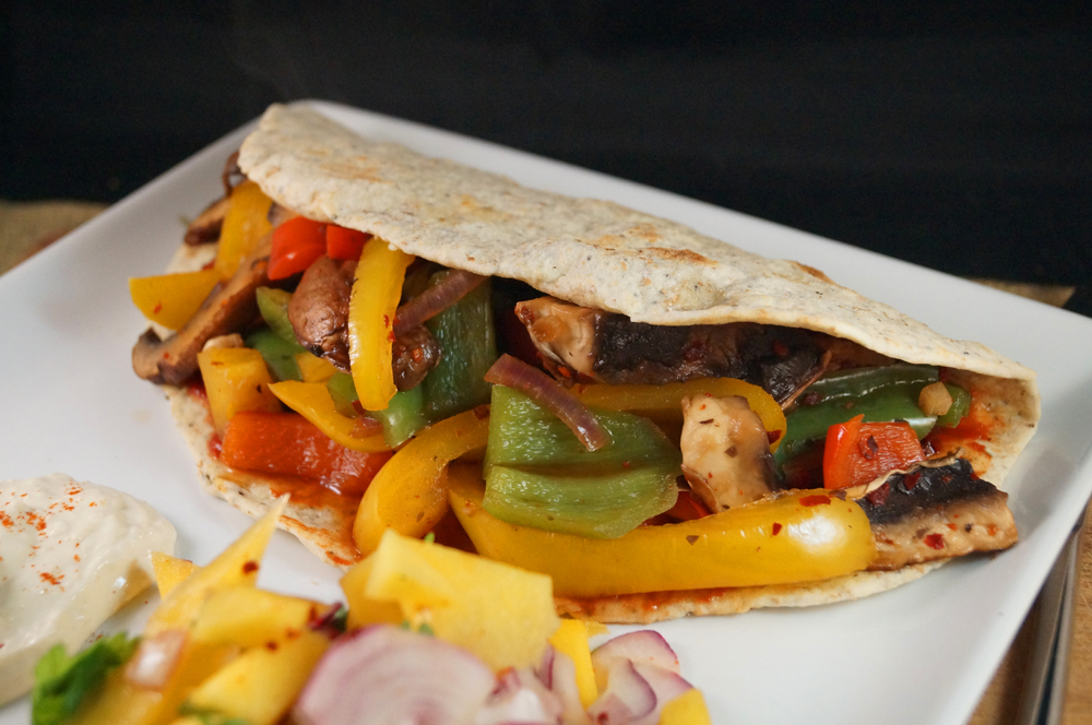 Veggie Quesadilla with Mango Salsa and Hummus